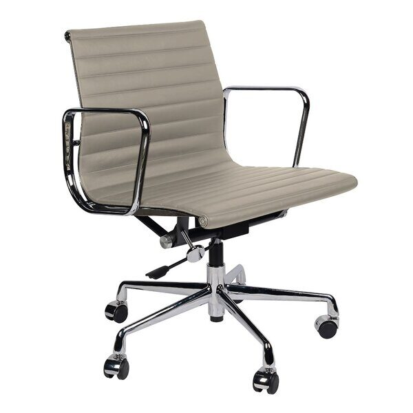 Кресло Eames Style Ribbed Office Chair EA 117 серая кожа