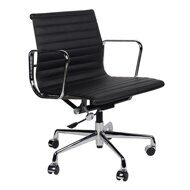 Кресло Eames Style Ribbed Office Chair EA 117 черная кожа
